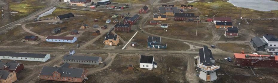 Aerial shot of Ny-Ålesund, Svalbard