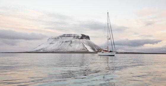 Yacht in Russian archipelago